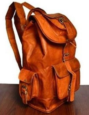 Leather Backpack with Flap and pockets, 18