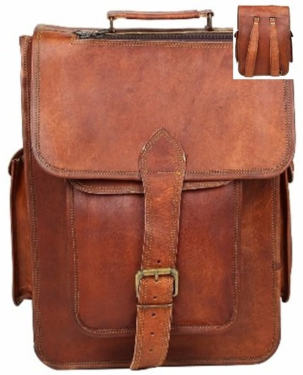 "Leather Bag, Backpack, with Flap and Buckle, 12""x 16"" Tall, Price Each"