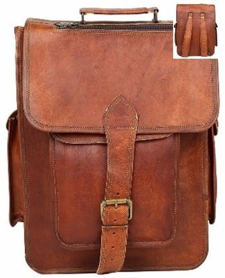 Leather Bag, Backpack, with Flap and Buckle, 12
