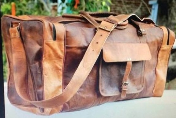 "Leather Travel Bag with strap and handle, 20"" Long, Priced Each"