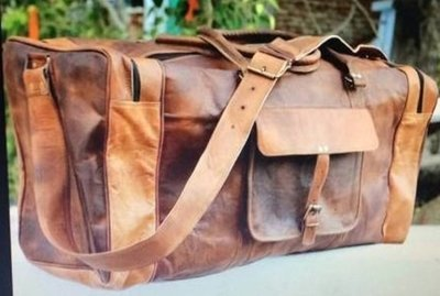 Leather Travel Bag with strap and handle, 20