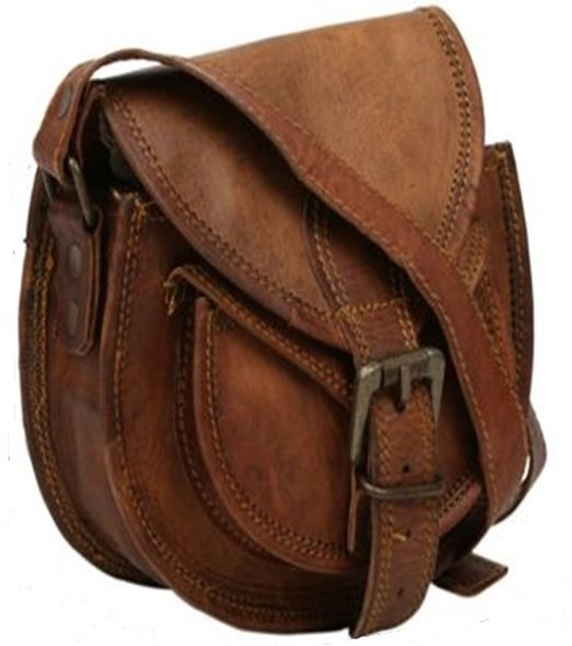 "Leather Travel Bag with Strap and Buckle Flap, 9""x 11"", Priced Each"