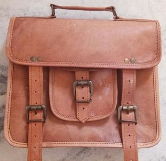 "Leather Bag with Handle and Buckle Flap, 10""x 13"", Priced Each"