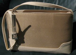 Ladies Hand Bag, Cream Color with Inside Zippered Pockets, Priced Each