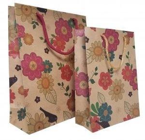 "Kraft Paper Gift Bags with Flower Design, 7 1/2""x 9 1/2"", 12 Pk"
