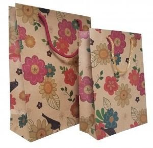 Kraft Paper Gift Bags with Flower Design, 7 1/2