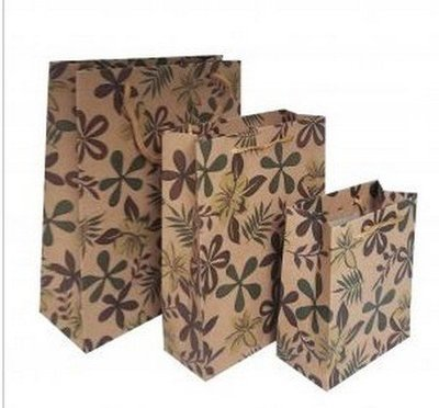 Kraft Paper Gift Bags with Leaf Design, 7 1/2