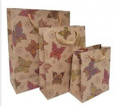 Kraft Paper Gift Bags with Butterfly Design, 7 1/2