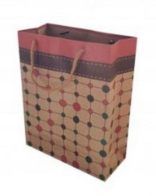 Kraft Paper Gift Bags with Dot Design, 7 1/2