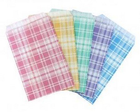 "Paper Gift Bags, 6""x 9"", Plaid Design, Asst. Colors, Priced Per 100 Pk"