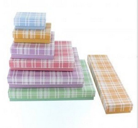 "Cotton filled Jewelry Boxes, Plaid Design, 2 5/8""X 1 1/2"", Priced Per 100 Pk"