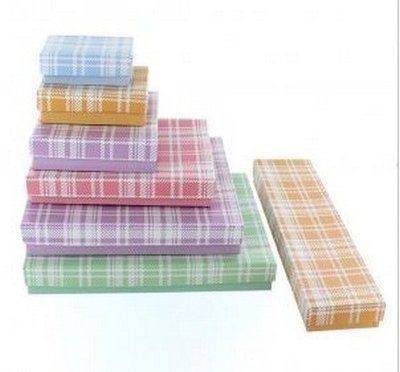 Cotton filled Jewelry Boxes, Plaid Design, 2 5/8