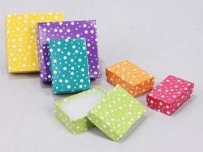 Cotton filled Jewelry Boxes, White Polka Dot Design, 3 1/4