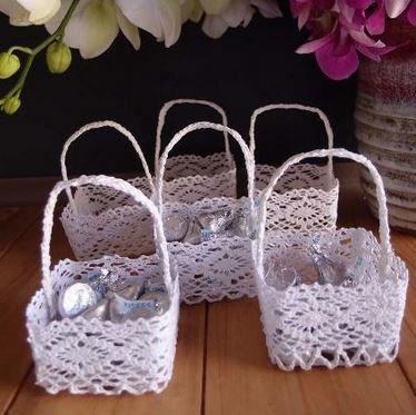 """Mini Lace Favor Baskets, Square Design, 2 3/4""""x 2 3/4""""x 1 3/4""""H, Priced Each"""