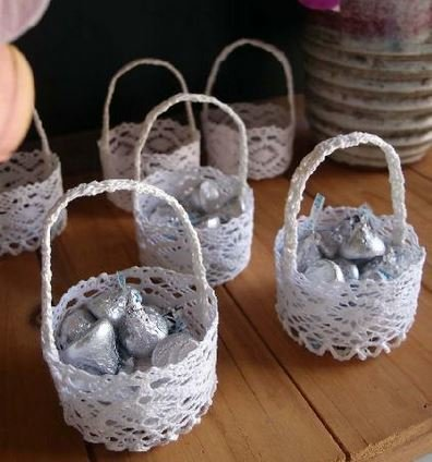 "Mini Favor Lace Baskets, Round Design, 2 3/4"" dia x 1 3/4""H, Priced Each"