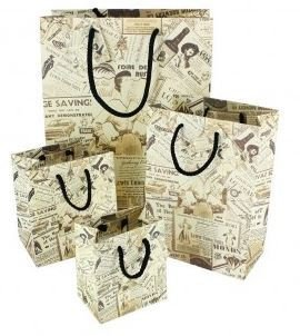 Paper Gift Bags with Newsprint Design, 4 3/4