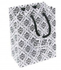 """Paper Gift Bags with Damask Design, 4""""x 2 3/4""""x 4 1/2"""", 20 Pk"""