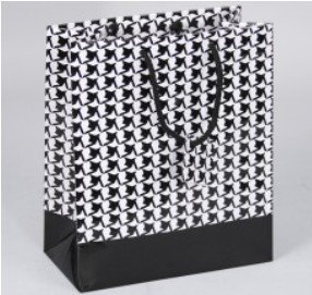 Paper Gift Merchandise Bags, Houndstooth Design, 3
