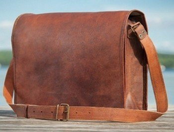 Leather Message Bag with Strap, 10