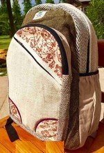 "Backpack, Natual Hemp with Rose Design, 10.5""x 16"", Priced Each"