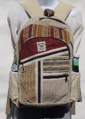 "Backpack Natural and Colored Hemp, 10.5""x 16"", Priced Each"