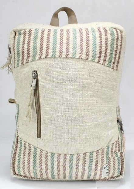 "Backpack, Natural Hemp with Front Zipper and Handle, 10.5""x 13.5"", Priced Each"