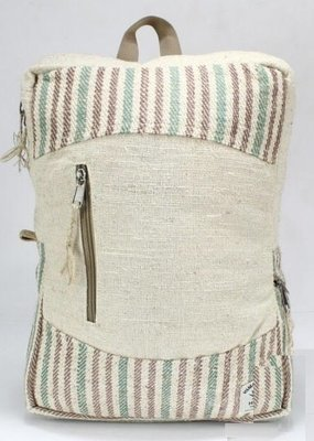 Backpack, Natural Hemp with Front Zipper and Handle, 10.5