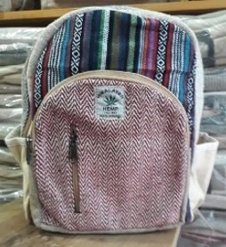 "Backpack, Small with Colored Hemp and Zipper Pockets, 9""x 13"", Priced Each"