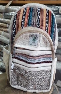 """Backpack, Small with Colored Hemp and Front Zipper Pockets, 9""""x 13"""", Priced Each"""