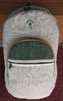 Backpack, Natural Hemp with Front Zipper Pouches, 10.5