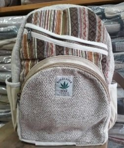 "BackPack, Nautral Hemp with Colored Cotton Design and Front Zipper Pouches, 9""x 13"", Priced Each"
