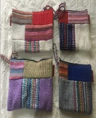 "Patchwork Zipper Cotton Coin Purses, 9"" x 5"", Priced Each"