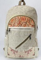 "Backpacks, Natural Hemp with Cotton Design, 10.5""x 16"", Priced Each"