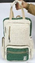 Backpack with Natural and Colored Hemp, Front Zipper Pockets and carrying Handle, 10.5