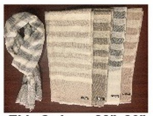 """Cashmere Blended Scarves, 28"""" x 80"""", Thin Stripes, Priced Each"""