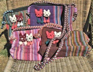 Shoulder Bags with Kitty Faces and Zipper, Priced Each