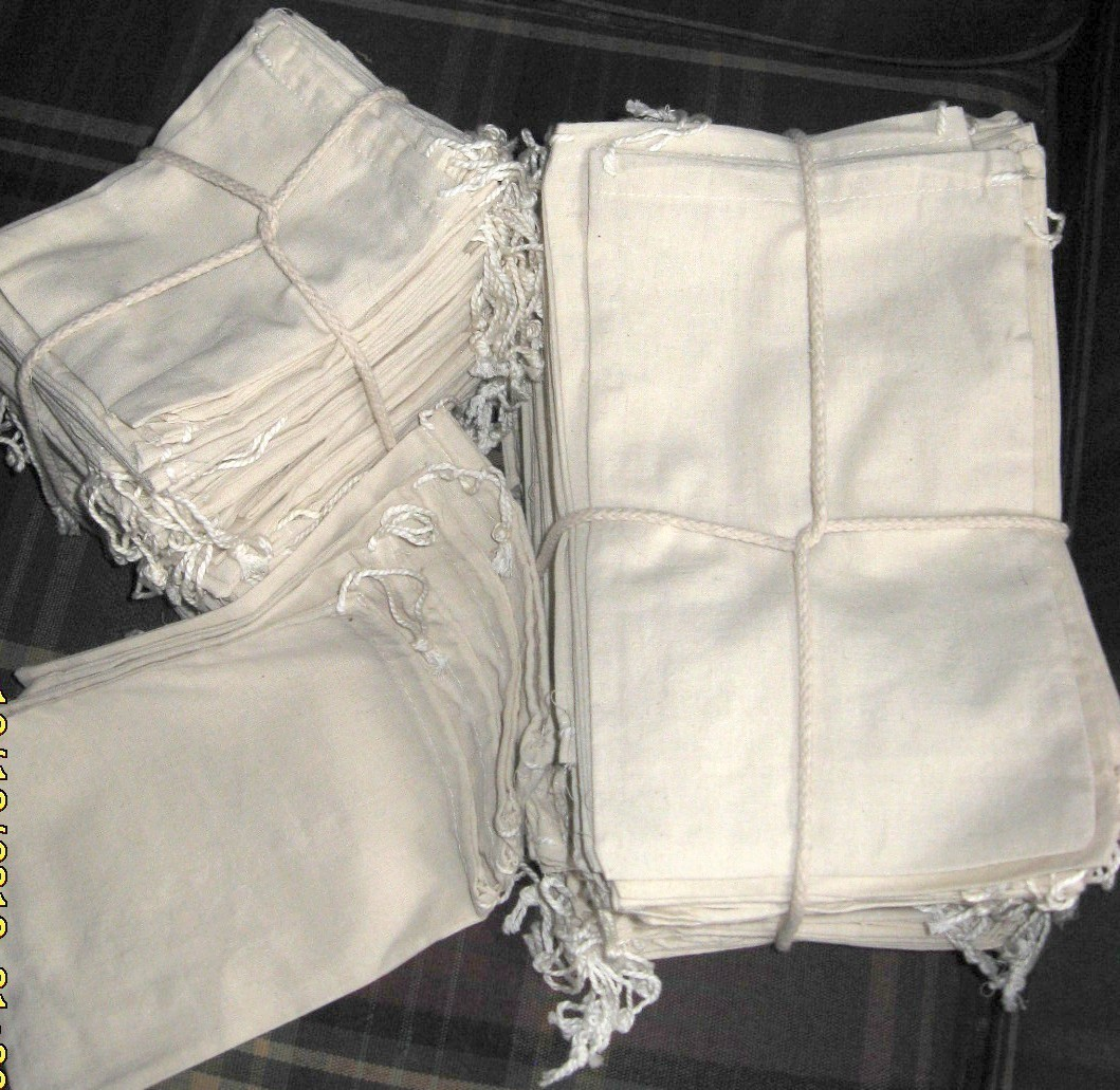 "2""x3"" Cotton Pouch Bags With Drawstring, 100 Pack"