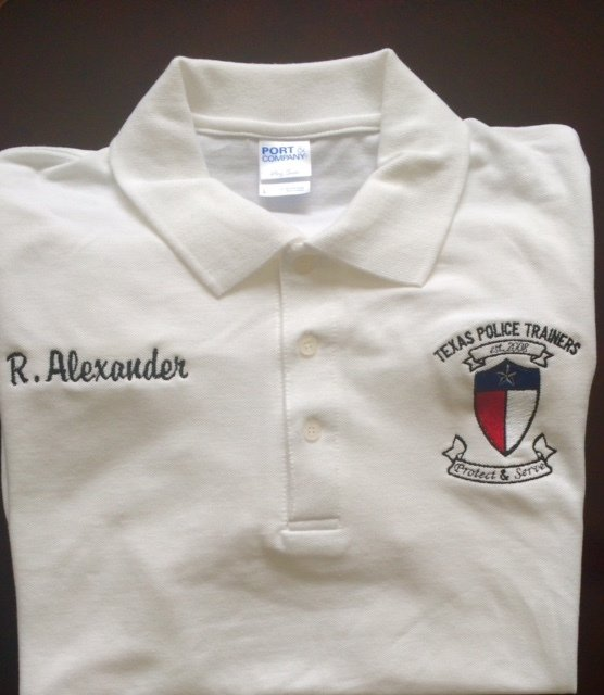 Texas Police Trainers Custom Embroidered Polo Shirt- Size Small to Extra Large