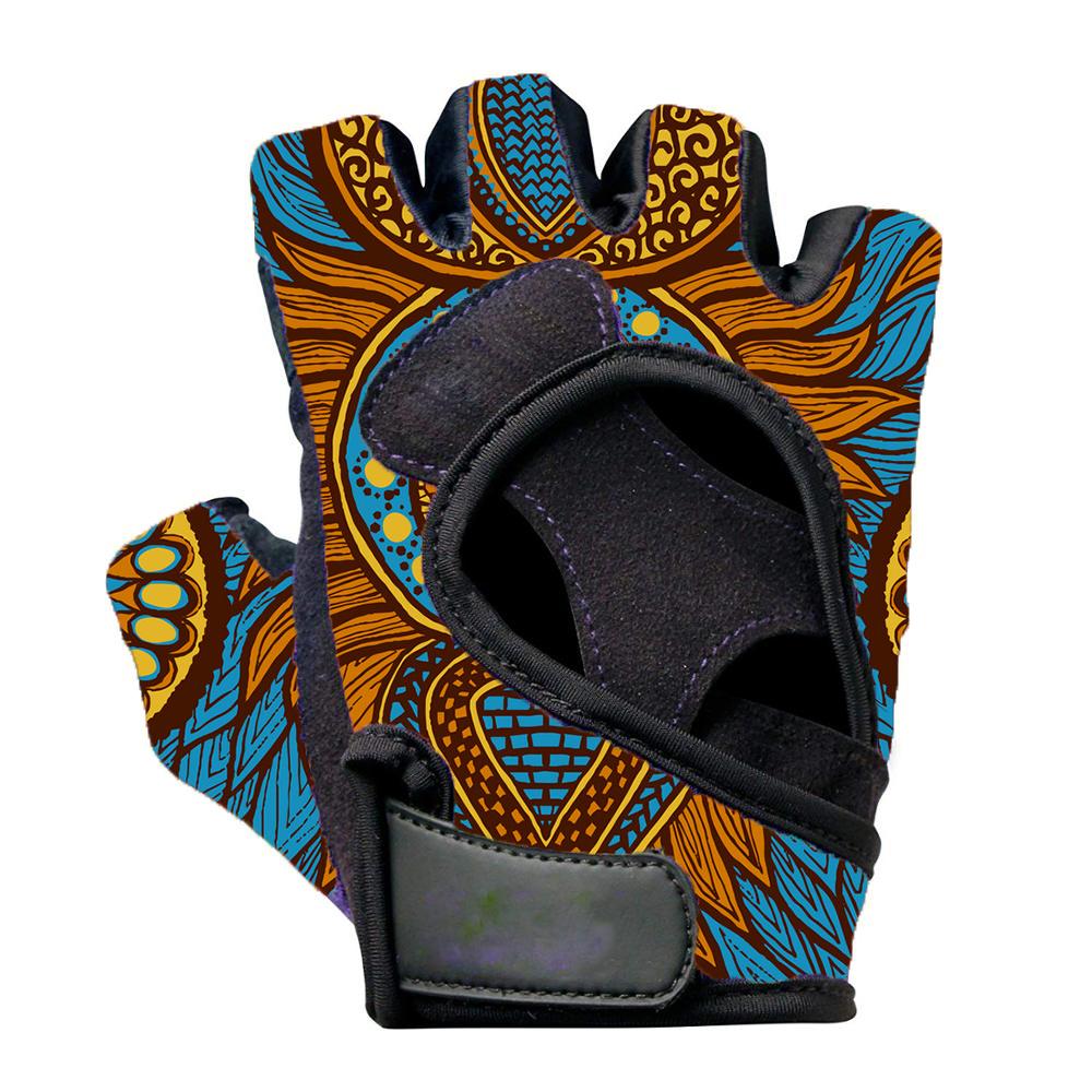 Blue Dashiki Cloth Weightlifting Gloves