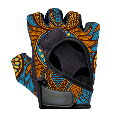 Blue Dashiki Cloth Weightlifting Gloves