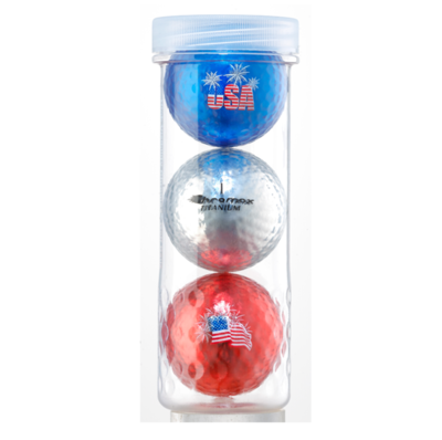 Chromax® USA 3 Ball Tube - (Blue, Silver & Red)