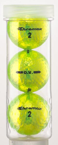 Green Neon Golf Balls - Chromax O.V. 3 Ball Tube