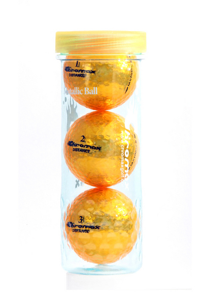 Gold Golf Balls - Chromax Distance 3 Ball Tube CMD3GLD