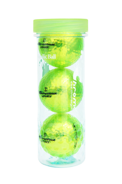 Green Golf Balls - Chromax Distance 3 Ball Tube