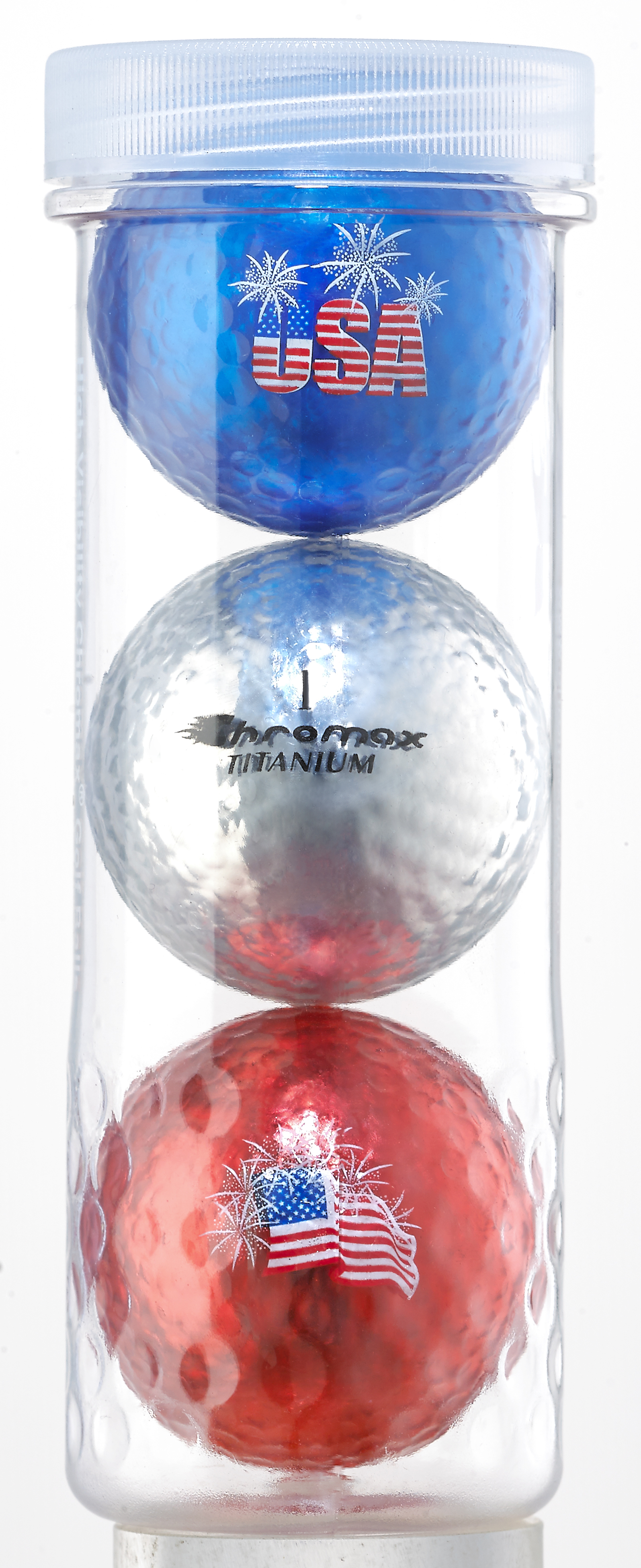 Chromax® USA 3 Ball Tube - (Blue, Silver & Red) CUSA3