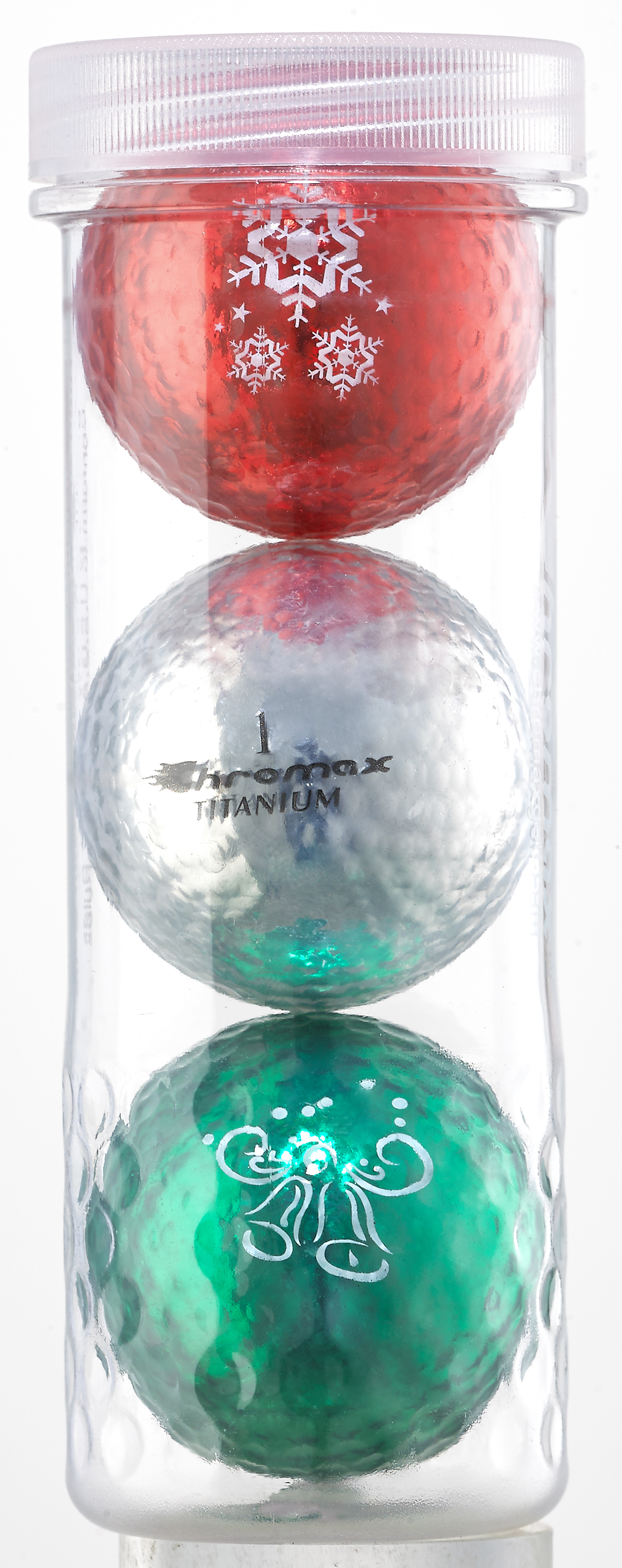 Holiday Golf Balls - Chromax M1x 3 Ball Tube - (Red, Silver, Green) CHOL3RSG