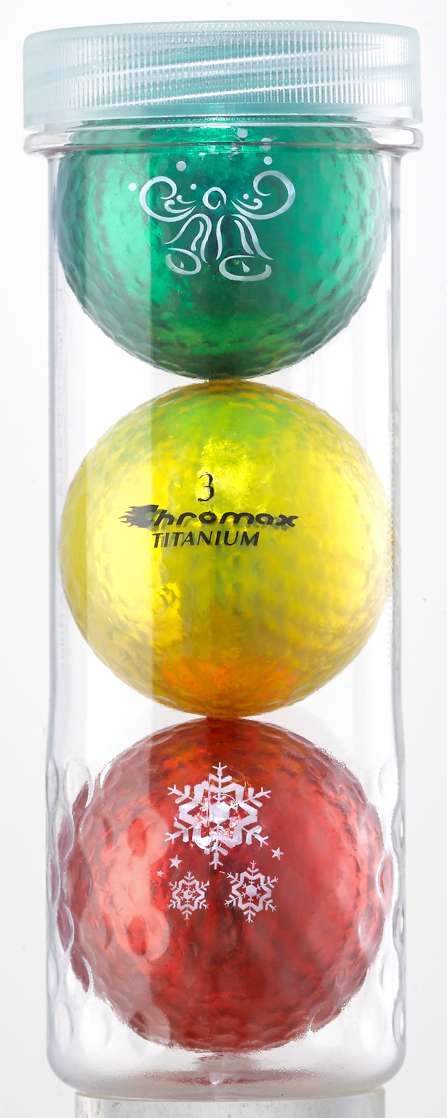 Holiday Golf Balls - Chromax M1x 3 Ball Tube (Green, Gold, Red) CHOL3RGG