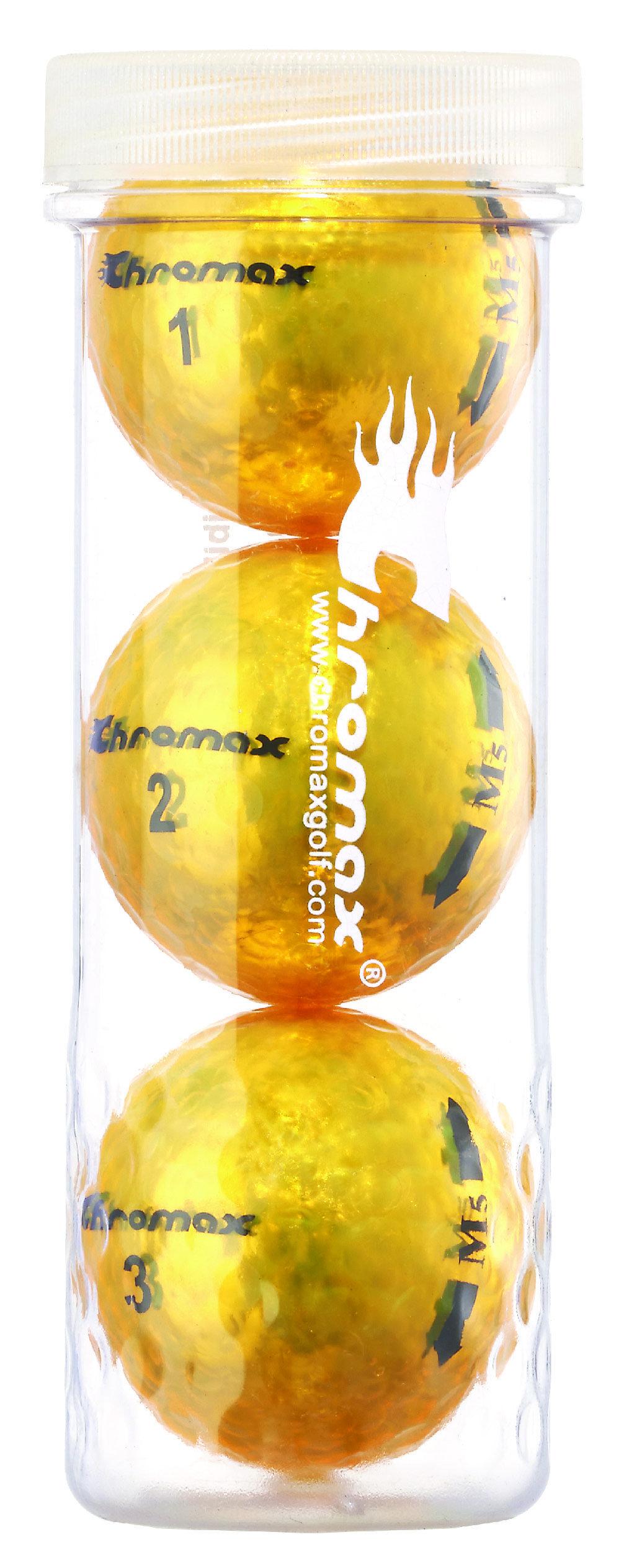 Chromax® Colored Gold Golf Balls - Metallic M5 3 Ball Tube CM53GLD