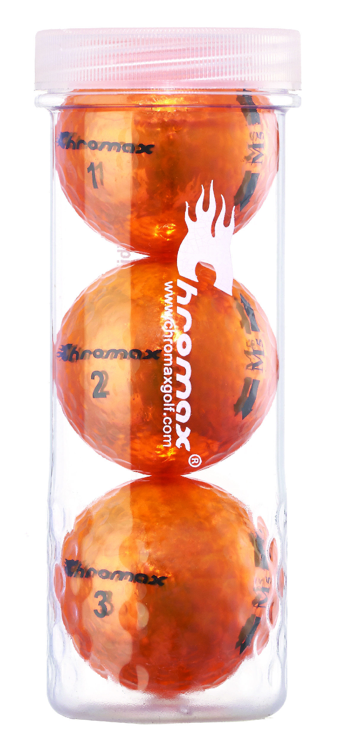 Chromax® Colored Orange Golf Balls - Metallic M5 3 Ball Tube CM53ORG