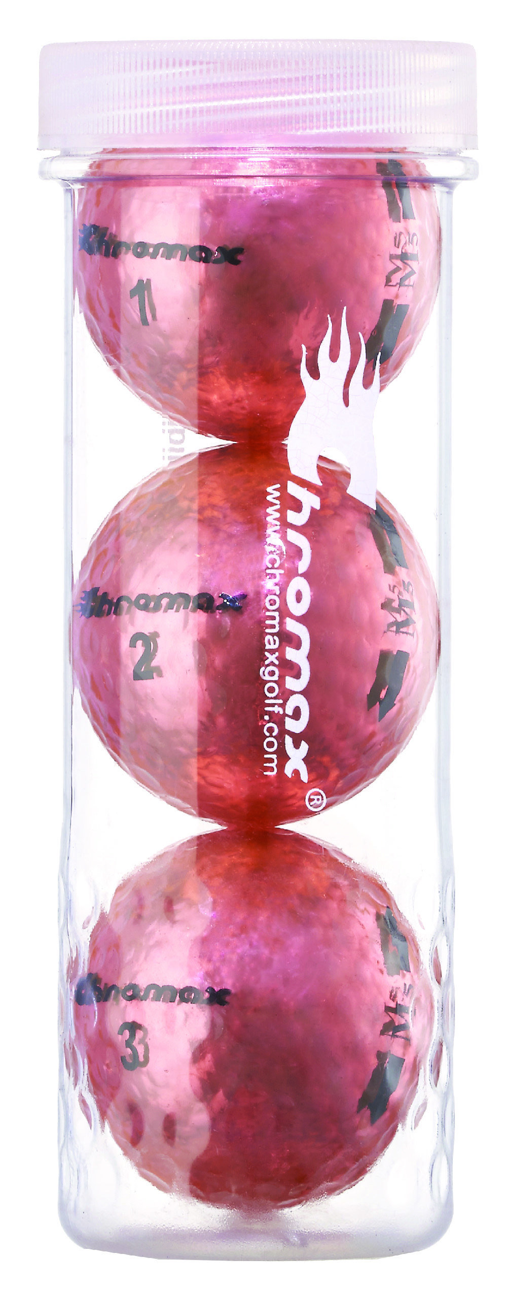 Chromax® Colored Pink Golf Balls - Metallic M5 3 Ball Tube CM53PNK